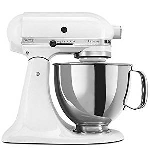 KitchenAid KSM150PSWH Artisan Series 5-Qt. Stand Mixer with Pouring Shield - White